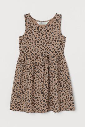 H&M Patterned Jersey Dress - Beige
