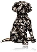 and Black Crystal Dog Brooch and Rhodium plated CRY 8508 T - Blue Pearls