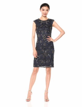 Pisarro Nights Women's Short Cap Sleeve Beaded Dress with Paisley Motif