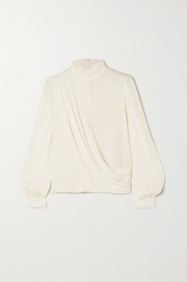 MICHAEL Michael Kors Wrap-effect Draped Silk Crepe De Chine Blouse - Cream