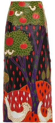 RED Valentino Appliqued Embroidered Maxi Skirt