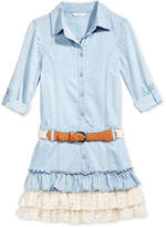 GUESS Denim & Lace Ruffle Dress, Big Girls