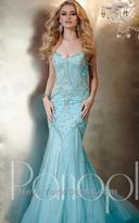 Panoply - 44274 Strapless Beaded Swirl Evening Gown