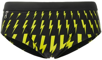Neil Barrett Lightning Bolt-Print Swim Briefs