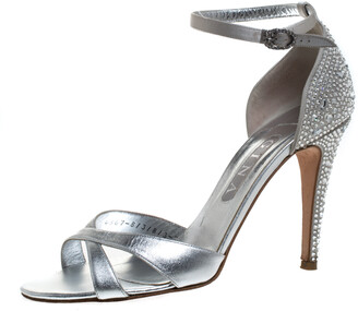 Gina Silver Leather And Satin Crystal Embellished Heel Ankle Strap Sandals Size 40