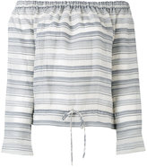 Theory off-shoulders striped blouse - women - Cotton/Silk - XS