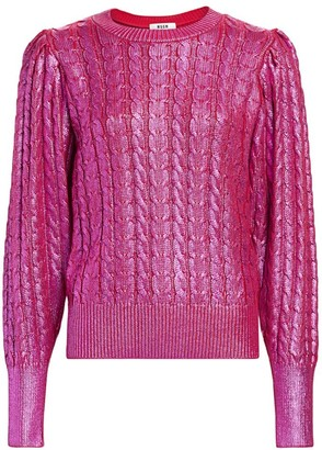 MSGM Metallic Coated Wool-Blend Cable Knit Sweater
