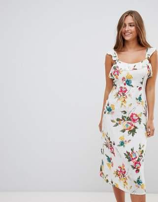Gilli floral print sleeveless midi dress-White