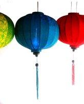 Terrapin Trading Vietnamese Silk & Bamboo Lampshade / Lantern (20 inch / 50cm)