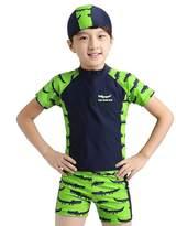 baby swimsuit Boys Crocodile 2 Piece Swimsuit Sunscreen Kids Long-sleeve Swimwear (XL)