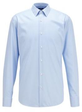 HUGO BOSS Regular Fit Shirt In Micro Patterned Cotton - Light Blue