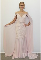 Terani Evening - Sleeveless Sweetheart with Cape Lace Gown 1711M3368