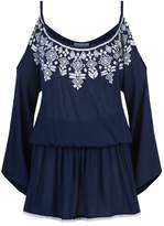 Elizabeth Hurley Embroidered Cold Shoulder Dress