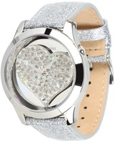 GUESS U0113L1 Silver-Tone Crystal Heart Watch (Silver/Mirror Silver) - Jewelry