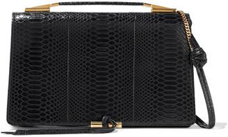 Stella McCartney Flo Medium Glossed Faux Croc-effect Leather Shoulder Bag