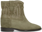 Isabel Marant Taupe Embroidered Crisi Boots