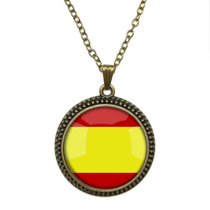 By Zoé Precious Stone National Flag 4 Base Colors Selection Design Silver Necklace for Valentine's Day STORE
