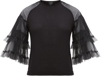 Giambattista Valli Tulle-sleeve Cashmere-blend Sweater - Womens - Black