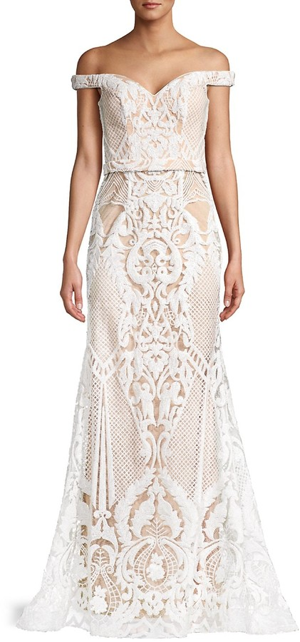 Thumbnail for your product : Jovani Lace Off-The-Shoulder Gown