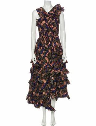 Ulla Johnson Printed Midi Length Dress w/ Tags Black