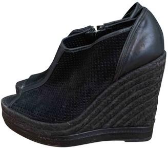 The Kooples Black Leather Espadrilles