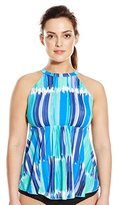 Fit 4 U Women's Plus-Size Seaport High Neck Flared Tankini