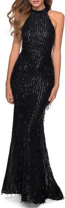 La Femme Fringe Sequin Halter Gown with Lace-Up Open Back