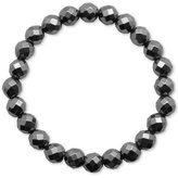 Macy's Faceted Bead Glossy Black Stone Stretch Bracelet