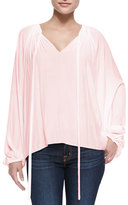 Ramy Brook Paris V-Neck Peasant Blouse, Blush