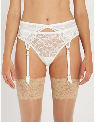 Chantelle Segur lace and satin suspender belt