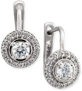 Macy's Diamond Halo Leverback Earrings (1/2 ct. t.w.) in 14k White or Yellow Gold
