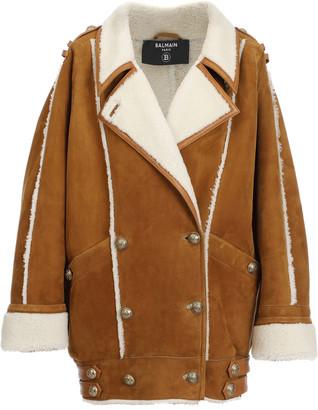 Balmain Shearling-Trimmed Suede Coat