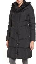 Cole Haan Women's 3/4 Down Coat With Faux Fur Hood