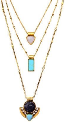 Don't Ask Don't AsK Necklaces Turquoise - Howlite & Goldtone Layered Pendant Necklace
