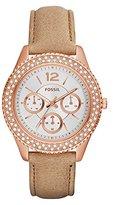 Fossil Women's ES3816 Stella Multifunction Leather Watch – Light Brown
