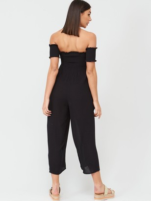 Very Shirred Knot Detail Bardot BeachJumpsuit - Black
