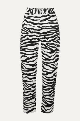 ATTICO Cropped Zebra-print High-rise Tapered Jeans - Zebra print