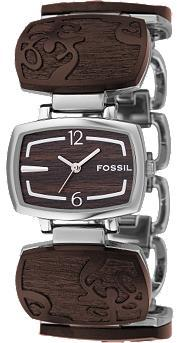Fossil Analog Wood Dial Watch