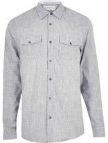 River Island MensGrey crosshatch western shirt