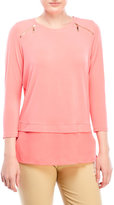 Ivanka Trump Zip Shoulder Jersey Top