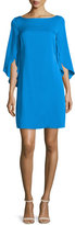 Milly Butterfly-Sleeve Bateau-Neck Dress, Aqua