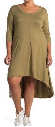 Forgotten Grace 3/4 Sleeve Hi-Lo Knit Dress
