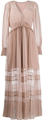Self-Portrait Pleated Lace-Panelled Dress