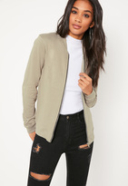 Missguided Tall Green Loopback Jersey Bomber Jacket