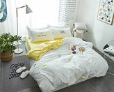 3 Piece Cotton Embroidery Kids Duvet Cover Set Twin Soft Lemon Pattern Solid Color Girls Comforter Cover Set Reversible Bedding Cover for Boys College,Comfortable,Summer,Hypoallergenic,Twin