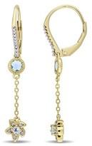 Laura Ashley Diamond & Blue Topaz Flower Earrings.