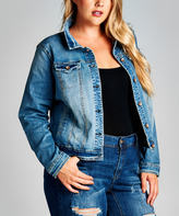 Medium Blue Stone Wash Denim Jacket - Plus