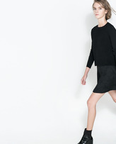 Zara Floral Jacquard Skater Skirt