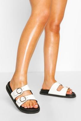 boohoo Buckle Detail Footbed Sliders