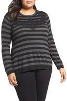 Vince Camuto Lace Trim Stripe Sweater (Plus Size)